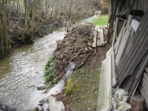 Ablagerungen von Kompost, Grüngut, Altholz etc. an Bachböschungen sind verboten. Es ist ein Mindestabstand von drei Metern ab Böschungsoberkante einzuhalten. Situationen wie die abgebildete provozieren Uferanrisse und gefährden die Wasserqualität und den Hochwasserschutz. (Bild: zvg)