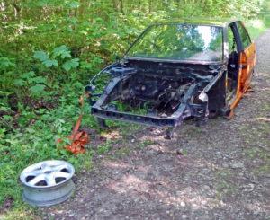 Der ausgeschlachtete Autorahmen wurde in einem Waldgebiet südlich von Kreuzlingen illegal entsorgt. (Bild: Kapo TG)
