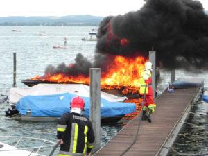 Das Motorboot brannte vollständig aus. (Bilder: Kapo TG)