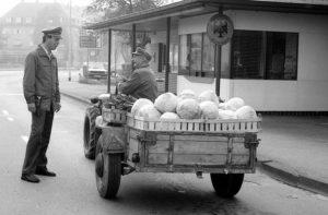 Paul Martin fährt um 1985 mit seinem etwas antiquierten «Holder»-Zweiachser Weisskrautköpfe über die Grenze, freundlich beäugt von einem deutschen Zöllner.(Bild: zvg)
