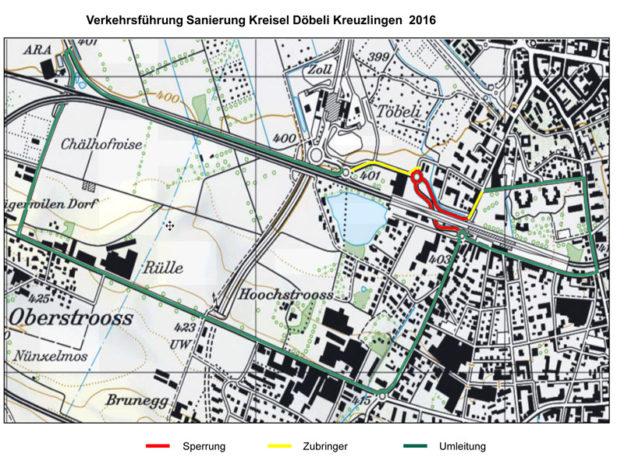 Die Umleitung der Verkehrsführung ab 5. September. Bild: zvg