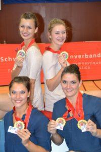 Die neuen Schweizermeisterinnen Annika Wepfer und Olivia Fleischmann sowie Noëmi Amrhein und Claudia Bitzer. (Bild: zvg)