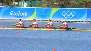 Nico Stahlberg mit seinem Ruderteam in Rio. (Bild: zvg)