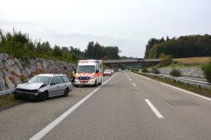 Die Autofahrerin wurde beim Unfall leicht verletzt. (Bild: Kantonspolizei Thurgau)