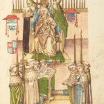 In einer feierlichen Zeremonie setzen die Kardinäle dem neuen Papst Martin V. seine Tiara auf. Er wurde 1417 von geistlichen sowie auch weltlichen Vertretern gewählt. (Bild: Richental-Chronik; Rosgartenmuseum Konstanz)